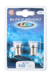 Product Λάμπες 12V 9 LED White Μονοπολικές BA15S Σετ 2 τεμ. All Ride 11636 base image