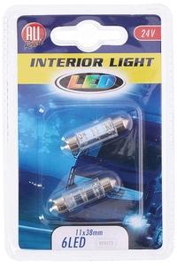 Product Λάμπες 24V 6 LED 11x36mm White Σετ 2 τεμ. All Ride 35743 base image