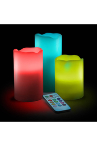 Product Κεριά LED Που Αλλάζουν Χρώμα Με Τηλεχειριστήριο Σετ 3 τεμ. Hi 55038 base image