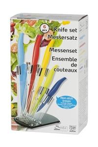 Product Μαχαίρια Κουζίνας Χρωματιστά Ανοξείδωτα Με Ακρυλική Διάφανη Βάση Σετ 6 τεμ. OEM 53747 base image