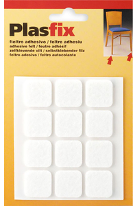 Product Τσοχάκια Επίπλων Αυτοκόλλητα Τετράγωνα 22mm Λευκά Σετ 12 τεμ. Inofix base image