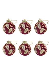Product Μπάλες Χριστουγεννιάτικες Μπορντό / Χρυσό 7cm Σετ 6 τεμ. base image
