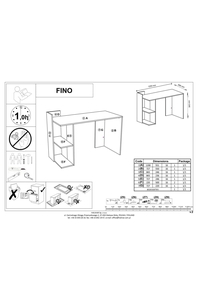 "Product Γραφείο Ξύλινο Γκρι / Δρυς Με 2 Ράφια ""Fino"" base image"