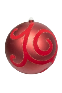 Product Μπάλα Χριστουγεννιάτικη Κόκκινη Ματ Με Βελούδο & Γκλίτερ 20cm base image