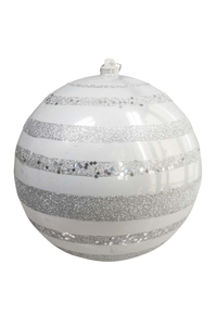Product Μπάλα Χριστουγεννιάτικη Ασημί Ματ Με Γκλίτερ 20cm base image