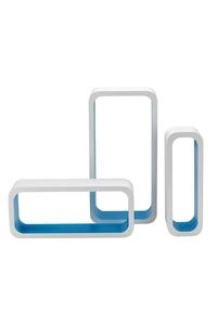 Product Ράφια Τοίχου MDF Λευκό / Σιέλ Σετ 3 τεμ. King M1105004/A base image