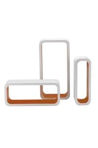 Product Ράφια Τοίχου MDF Λευκό / Πορτοκαλί Σετ 3 τεμ. King M1105004/D base image