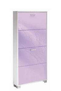 Product Παπουτσοθήκη Με 4 Πόρτες Λευκό/Μωβ Γυαλιστερό base image
